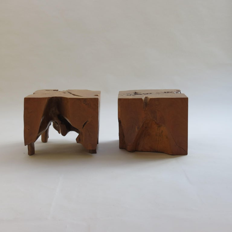Pair of Organic Naturalistic Chunky Root Teak Cube Side Tables Nightstands 6