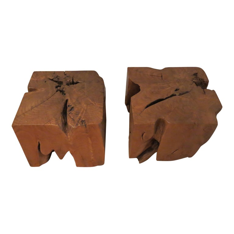 Pair of organic naturalistic chunky root teak cube side tables nightstands.