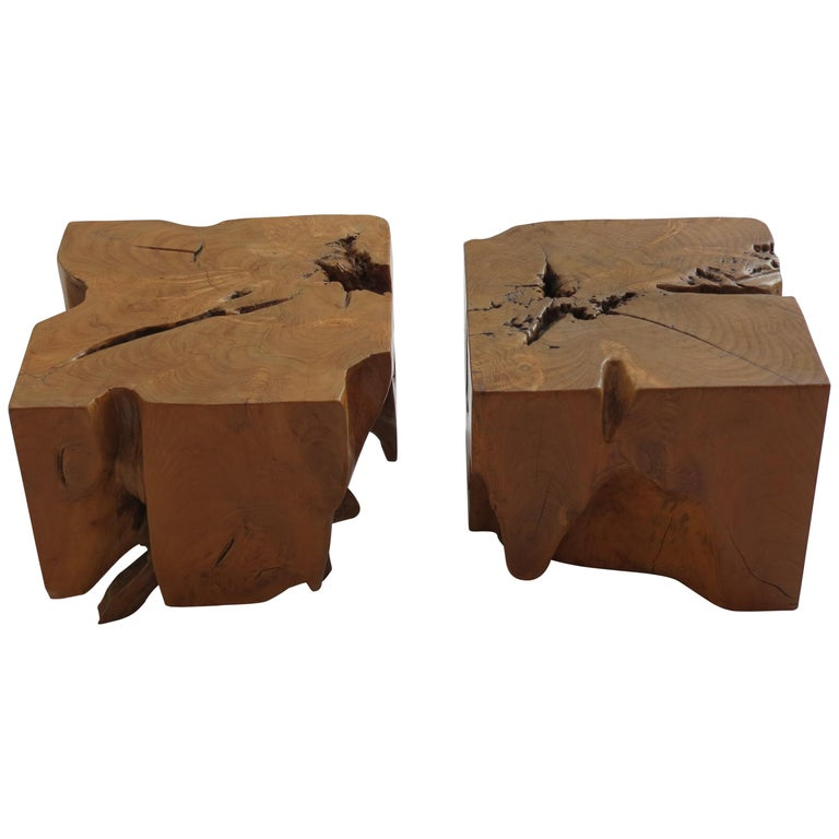 Pair of Organic Naturalistic Chunky Root Teak Cube Side Tables Nightstands