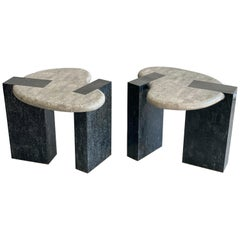 Pair of Organic Post Modern End Tables by Maitland-Smith in Tessellated Stone