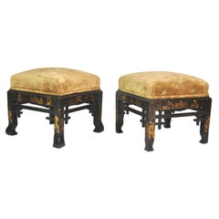 Pair of Oriental-Inspired Chinoiserie Poufs, France, Late 19th Century