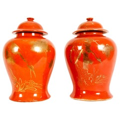 Pair  Oriental Porcelain Decorative Covered Urns
