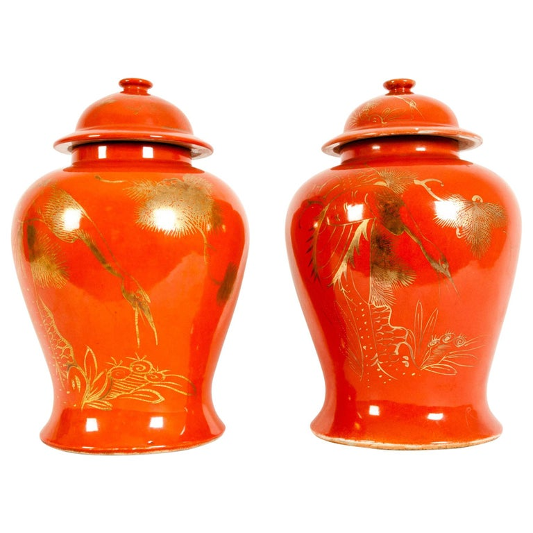 Pair  Oriental Porcelain Decorative Covered Urns For Sale