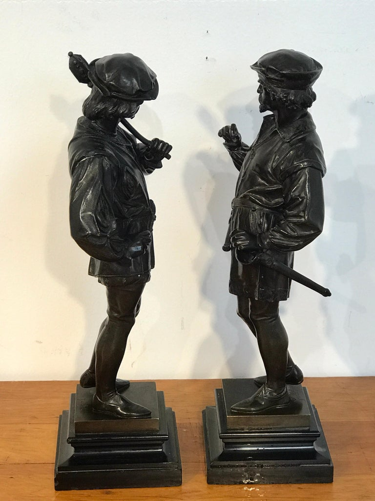 Pair of Orientalist Bronzes of Standing Turks, Signed Guillot For Sale 7