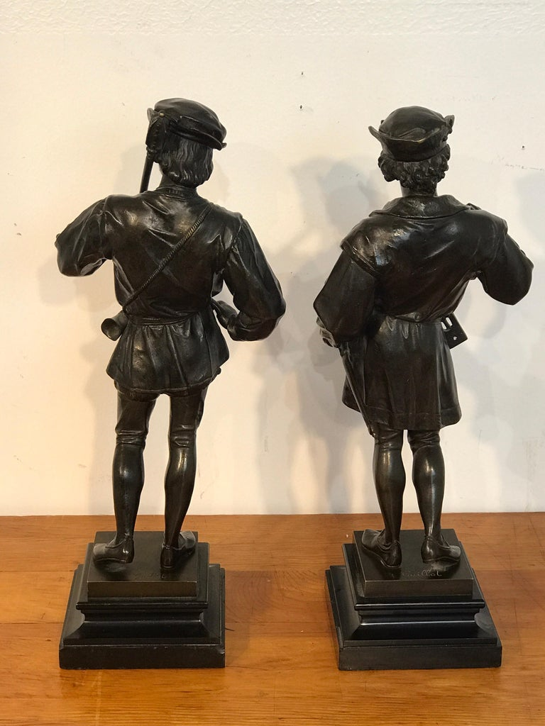 Pair of Orientalist Bronzes of Standing Turks, Signed Guillot For Sale 9