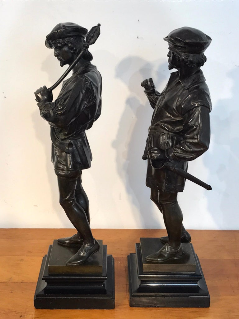 Pair of Orientalist Bronzes of Standing Turks, Signed Guillot For Sale 10