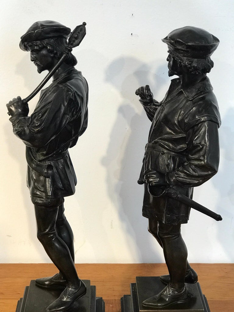 Pair of Orientalist Bronzes of Standing Turks, Signed Guillot For Sale 11