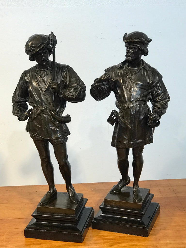 Pair of Orientalist Bronzes of Standing Turks, Signed Guillot For Sale 12