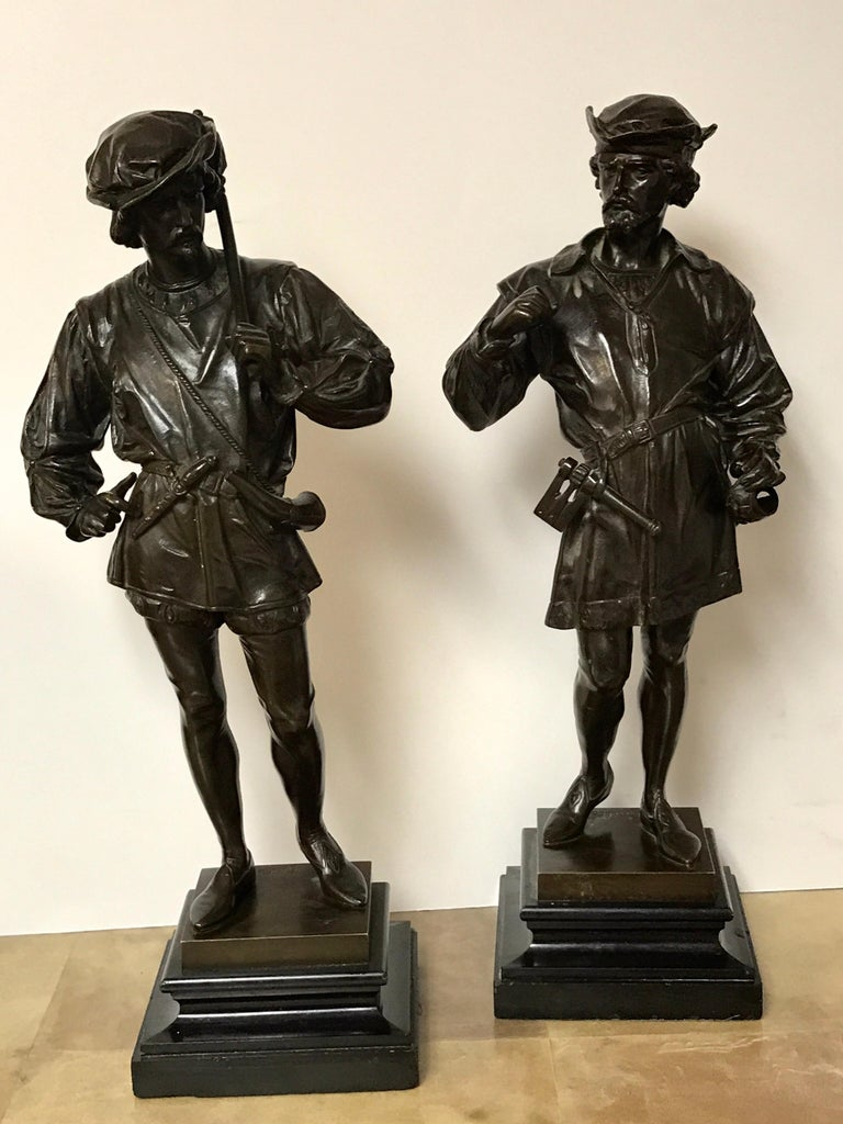 High Victorian Pair of Orientalist Bronzes of Standing Turks, Signed Guillot For Sale
