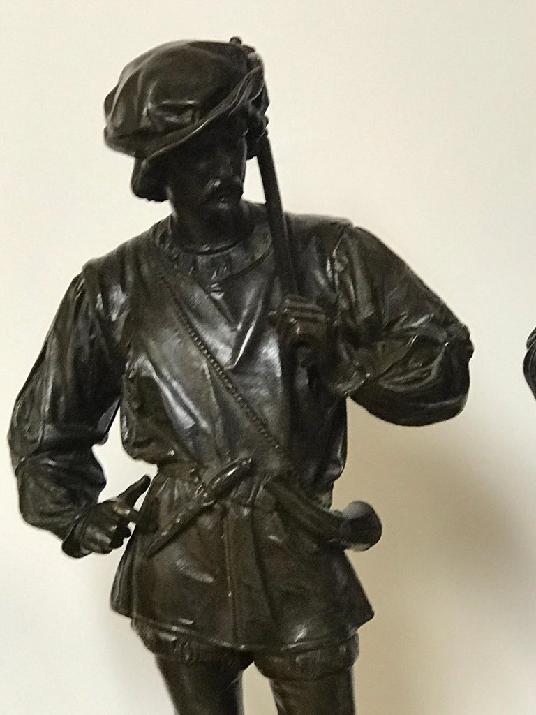 French Pair of Orientalist Bronzes of Standing Turks, Signed Guillot For Sale