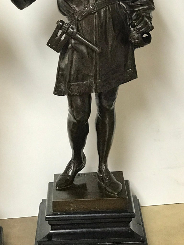 Pair of Orientalist Bronzes of Standing Turks, Signed Guillot In Good Condition For Sale In West Palm Beach, FL