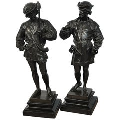 Pair of Orientalist Bronzes of Standing Turks, Signed Guillot
