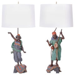 Pair of Orientalist Figural Table Lamps
