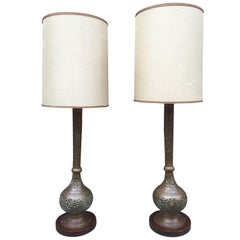 Pair of Orientalist Lamps in Brass and Mahogany, circa 1930