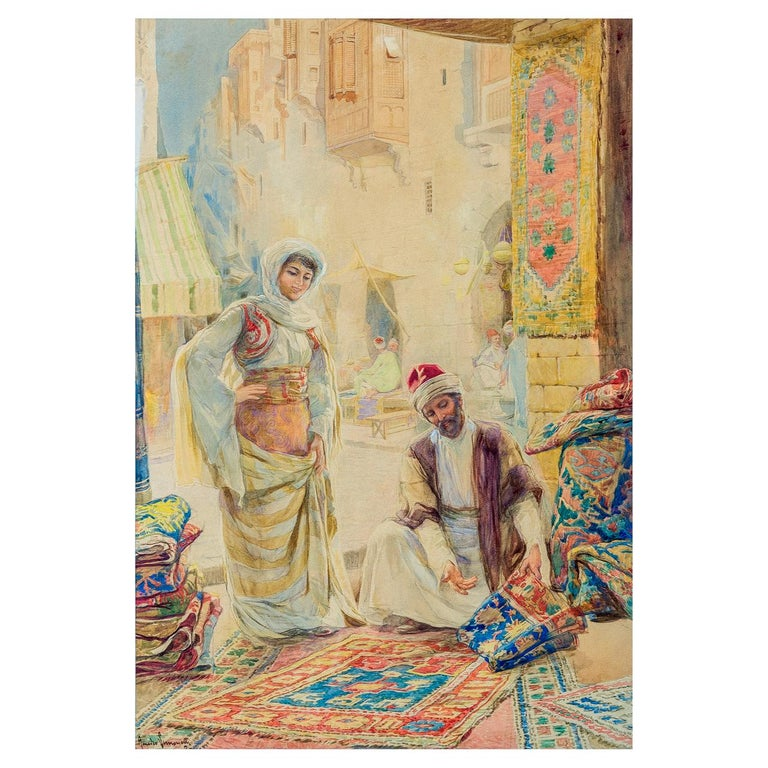 A fine pair of orientalist watercolor paintings depicting Rug Merchants by Amedeo Simonetti.  Maker: Amedeo Simonetti (1874-1922) Origin: Italian Date: 19th century Medium: Watercolor Dimension: 21 in. x 14 in. (image); 27 1/2 in. x 20 1/2 in.