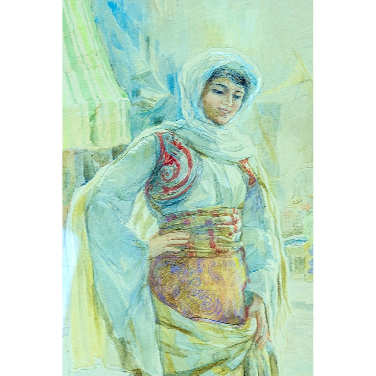 Italian Pair of Orientalist Paintings of Rug Merchants by Amedeo Simonetti For Sale