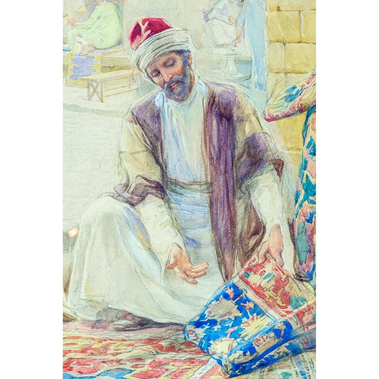 Painted Pair of Orientalist Paintings of Rug Merchants by Amedeo Simonetti For Sale