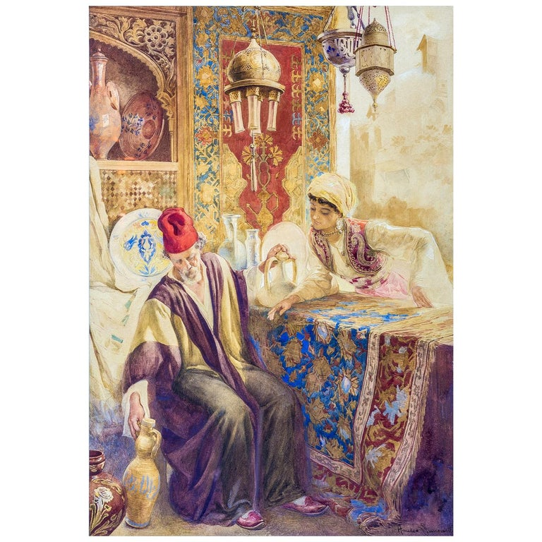 19th Century Pair of Orientalist Paintings of Rug Merchants by Amedeo Simonetti For Sale