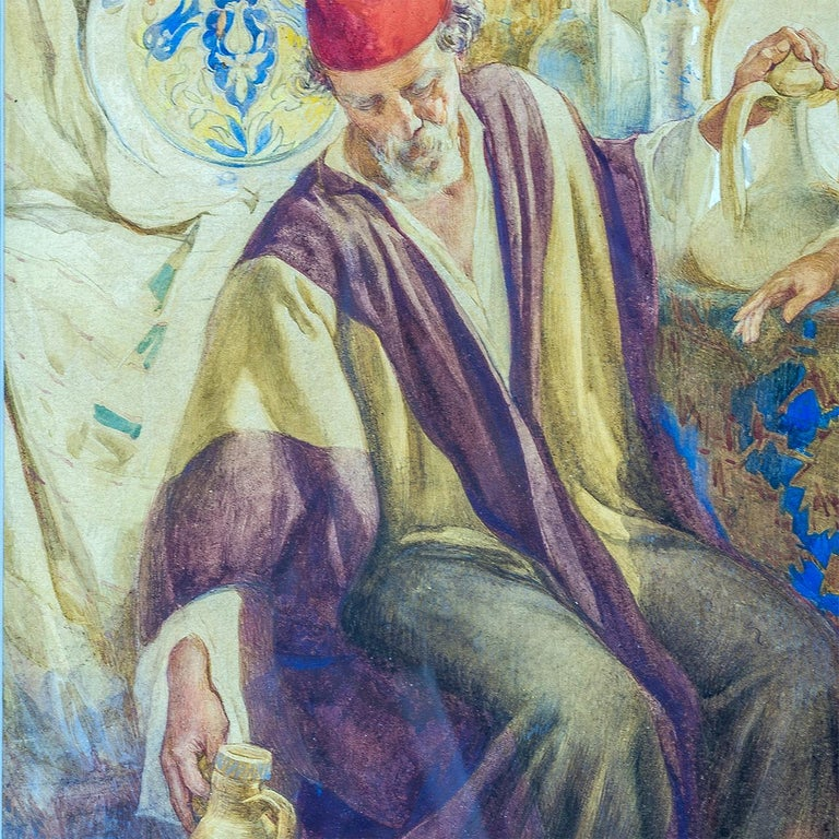 Paper Pair of Orientalist Paintings of Rug Merchants by Amedeo Simonetti For Sale