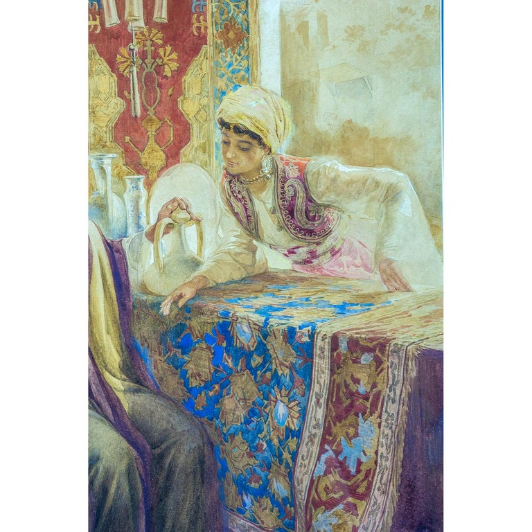 Pair of Orientalist Paintings of Rug Merchants by Amedeo Simonetti For Sale 1