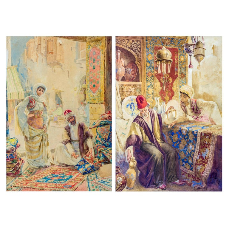 Pair of Orientalist Paintings of Rug Merchants by Amedeo Simonetti For Sale