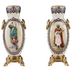Pair of Orientaliste Vases Signed RSA Bellanger
