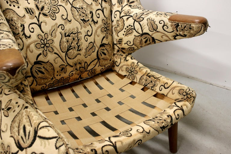 Pair of Original 1950s Hans Wegner Papa Bear Chairs, Incl. Reupholstery in COM For Sale 8