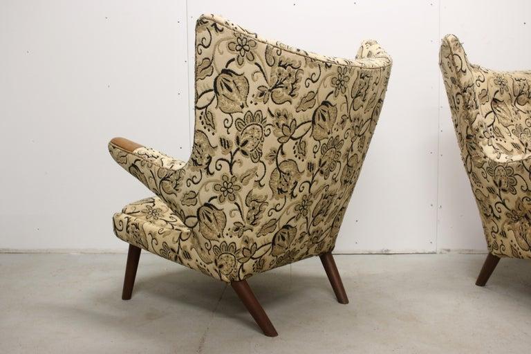 Pair of Original 1950s Hans Wegner Papa Bear Chairs, Incl. Reupholstery in COM For Sale 1