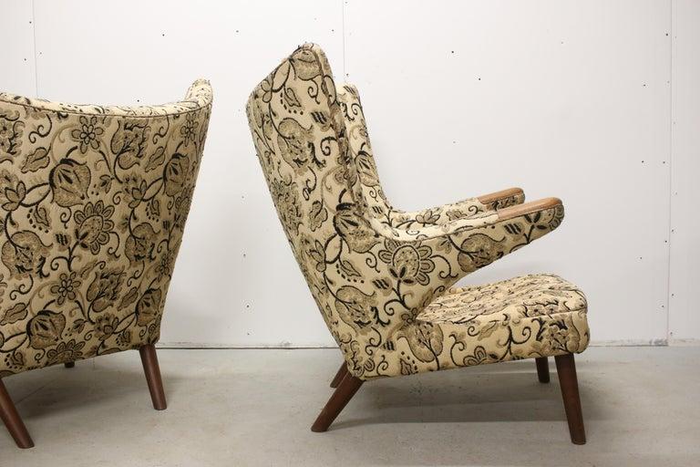 Pair of Original 1950s Hans Wegner Papa Bear Chairs, Incl. Reupholstery in COM For Sale 2