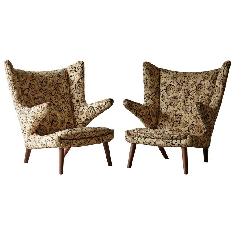 Pair of Original 1950s Hans Wegner Papa Bear Chairs, Incl. Reupholstery in COM For Sale