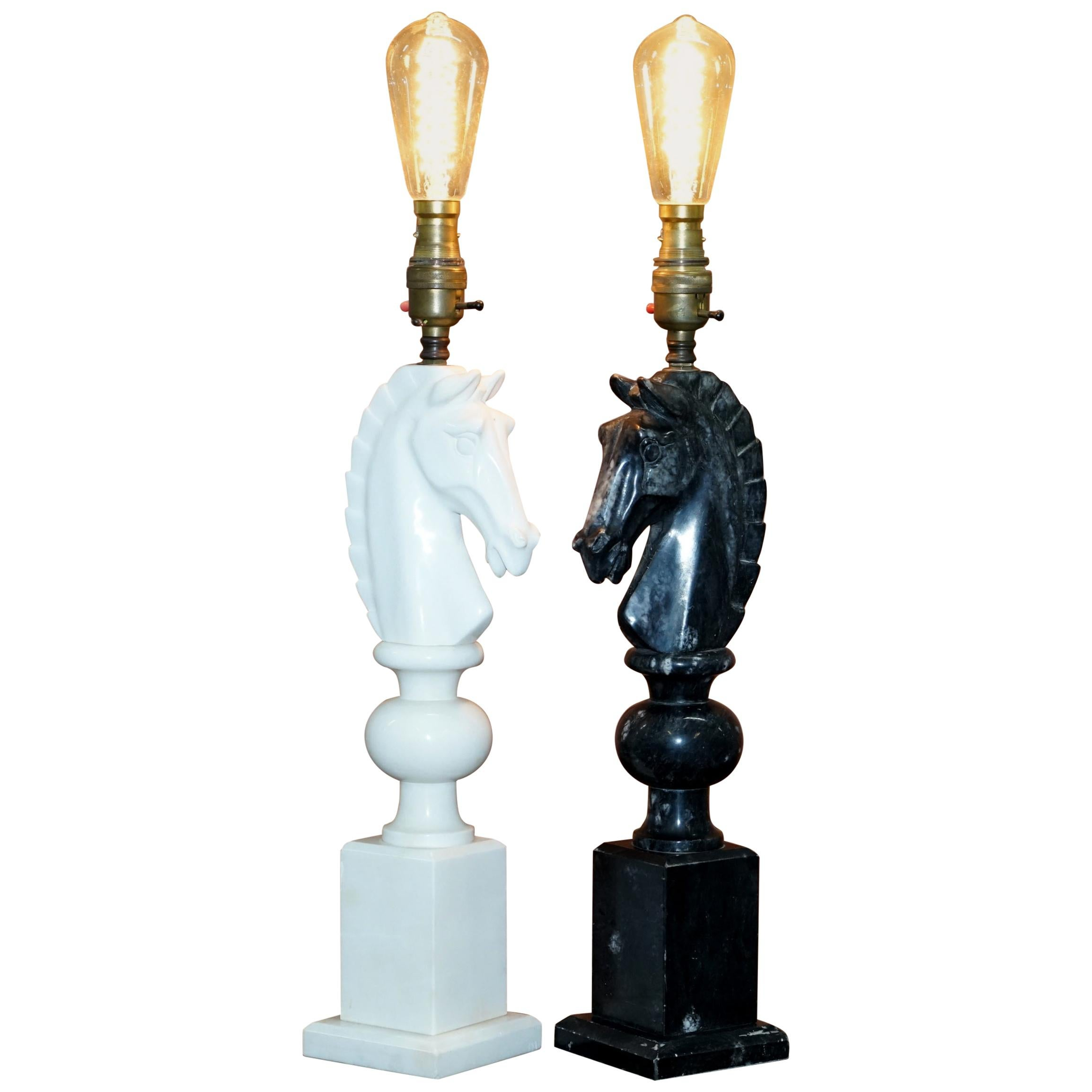 Pair of Original 1950s Italian Carrara Marble Chess Horse Lamps Fully Serviced