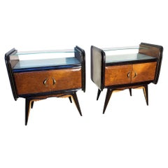 Pair of Original 1950's Italian Design Nightstands Ebonite Wood Marbled Glass