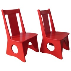Pair of Original 1960s Red Childrens Chairs