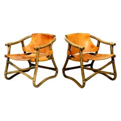 Pair of Original 1960s Safari Lounge Chairs Made of Bamboo and Brown Leather