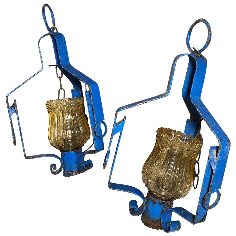 Pair of Original 1970s Italian Blue Lanterns