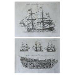 Pair of Original Antique Marine Prints, circa 1790