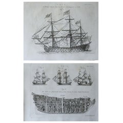 Pair of Original Antique Marine Prints, circa 1790