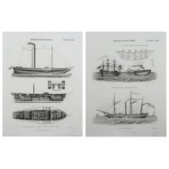Pair of Original Antique Marine Prints, Dated 1824