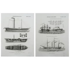 Pair of Original Antique Marine Prints, Dated 1824