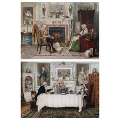 Pair of Original Antique Prints of Country House Interiors after W.Dendy Sadler