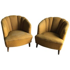 Pair of Original Art Deco Club Armchairs, circa 1940s