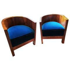 Pair of Original Art Deco French Armchairs, 1930s