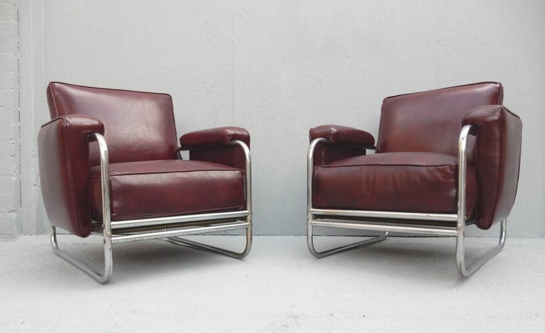 Mid-20th Century Pair of Original Art Deco Lounge Chairs, 1930s For Sale