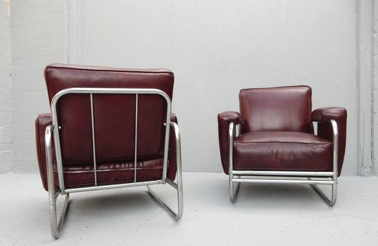 Steel Pair of Original Art Deco Lounge Chairs, 1930s For Sale