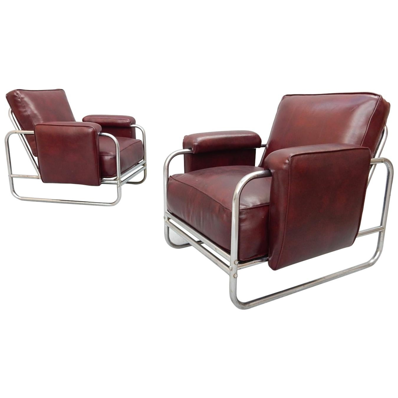 Pair of Original Art Deco Lounge Chairs, 1930s