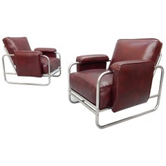 Pair of Original Art Deco Lounge Chairs, 1930s