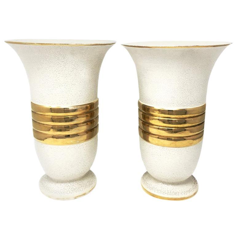 Pair of Original Art Deco Vases in Ceramic, France, 1930s