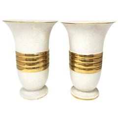 Pair of Original Art Deco Vases in Ceramic, France, 1930s