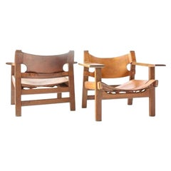 Pair of Original Borge Mogensen Spanish Chairs Model 226 Leather and Oak
