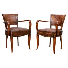 Pair of Original Condition Mid Century Leather Armchairs
